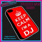 FITS IPHONE 4 / 4S PHONE KEEP CALM IM A DJ  PLASTIC COVER COOL GIFT RED